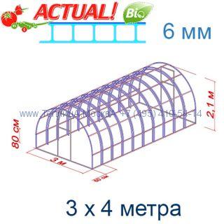 Теплица Богатырь Люкс 3 х 4 с поликарбонатом 6 мм Актуаль BIO