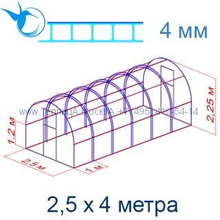 Теплица Богатырь Цинк 2,5 х 4 с поликарбонатом 4 мм Polygal