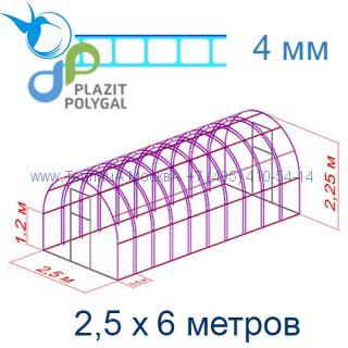 Теплица Богатырь Цинк 2,5 х 6 с поликарбонатом 4 мм Актуаль BIO
