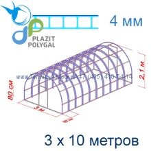 Теплица Богатырь Цинк 3 х 10 с поликарбонатом 4 мм Актуаль BIO