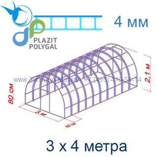 Теплица Богатырь Цинк 3 х 4 с поликарбонатом 4 мм Актуаль BIO