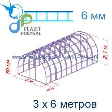 Теплица Богатырь Цинк 3 х 6 с поликарбонатом 6 мм Актуаль BIO