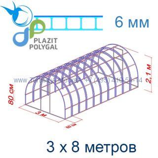 Теплица Богатырь Цинк 3 х 8 с поликарбонатом 6 мм Актуаль BIO