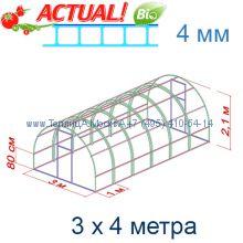 Теплица Кремлевская Премиум 3 х 4 с поликарбонатом 4 мм Актуаль BIO