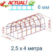 Теплица Кремлевская Цинк 2,5 х 4 с поликарбонатом 6 мм Актуаль BIO