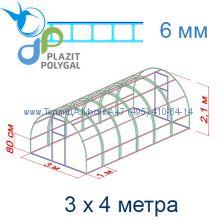 Теплица Кремлевская Цинк 3 х 4 с поликарбонатом 6 мм Polygal