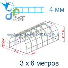 Теплица Кремлевская Цинк 3 х 6 с поликарбонатом 4 мм Polygal