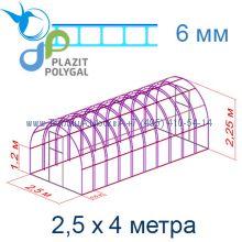 Теплица Богатырь Премиум 2,5 х 4 с поликарбонатом 6 мм Polygal