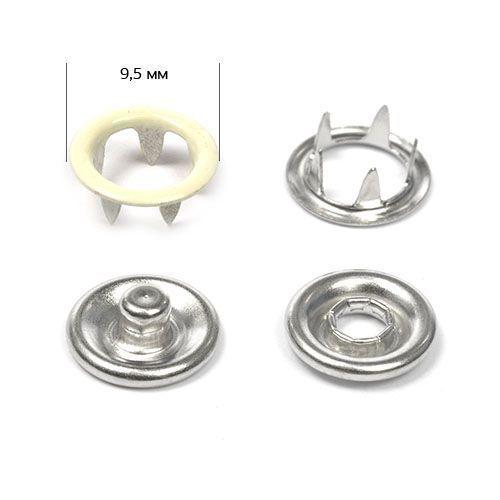 Кнопка трикотажная №306 (кольцо) эмаль цв.бежевый светлый нерж 9,5мм NewStar