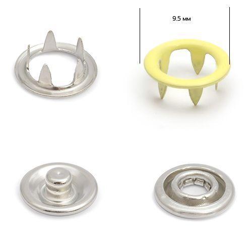 Кнопка трикотажная №109 (кольцо) цв.желтый светлый нерж 9,5мм эмаль NewStar