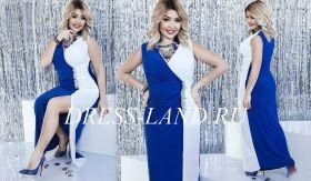 Бело-синее платье в пол с разрезом