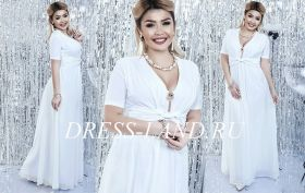 Белое платье в пол с короткими рукавами