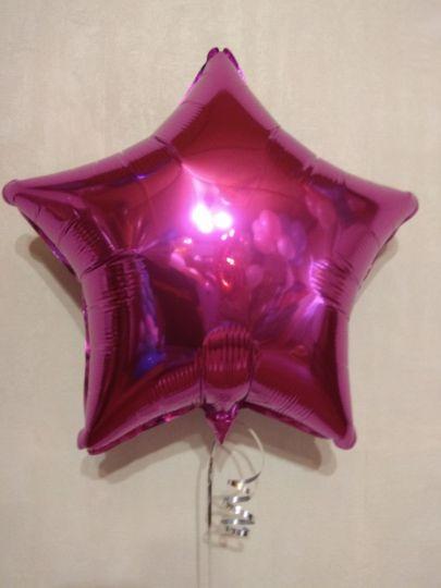 Звезда фуксия шар фольгированный с гелием