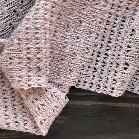 Трикотаж Вязаный ажурный Розовый