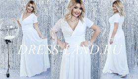 Белое вечернее платье с короткими рукавами