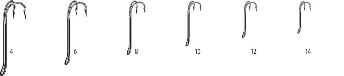 Двойники Cannelle 2008 W № 4 уп. 10 шт. (черный,кованный,длинное цевье,спаянный,для нахлыста)
