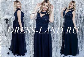 Темно-синее вечернее платье с V-образным вырезом