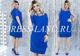 Синее шифоновое платье длины миди