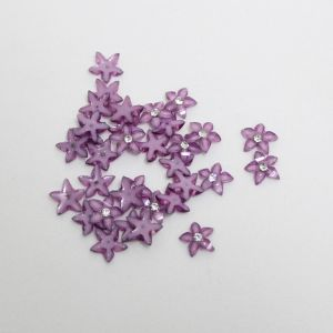 """Кабошон со стразой """"Цветок острые листики"""" 10 мм, цвет сиреневый (1уп = 50шт)"""