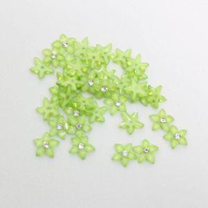 """`Кабошон со стразой """"Цветок острые листики"""" 10 мм, цвет зеленый (1уп = 10шт)"""
