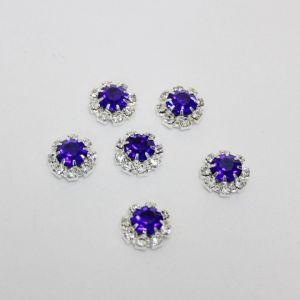 Кабошон со стразами, круглый, цвет основы: серебро, цвет стразы: синий, размер: 12мм (1уп = 10шт)