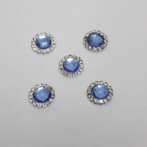 `Кабошон со стразами, круглый, цвет основы: серебро, цвет стразы: светло-синий, размер: 16мм