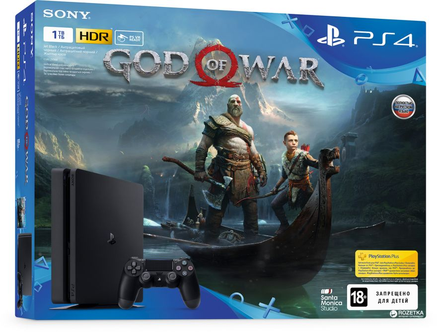 Игровая приставка Sony Playstation 4 Slim 1 ТБ (CUH-2116B) + игра God of War
