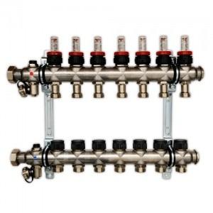 Гребенка для напольного отопления со встроенными регулирующими вентилями и ротаметрами, на 8 контуров