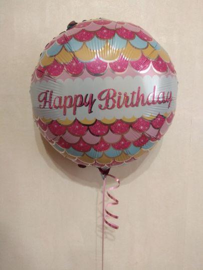 Стильный розовый круг С Днем Рождения шар фольгированный с гелием