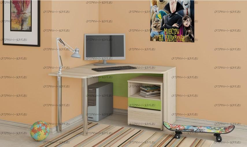 стол письменный угловой с тумбой киви гн 139011 11