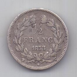 1/2 франка 1838 г. W Франция