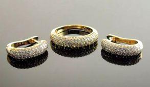 Комплект позолоченных украшений - серьги и кольцо с искусственными бриллиантами (арт. 250154)