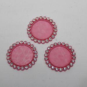 `Крышка со стразами, пластик, Двнеш. 35мм, Двнутр. 25мм, цвет: 16 розовый