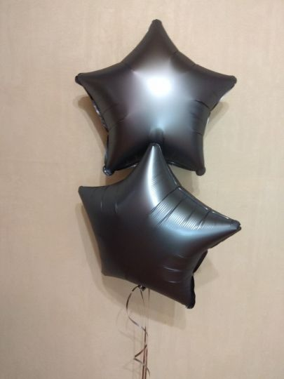 Звезда Графит Сатин шар фольгированный с гелием