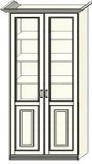 Шкаф-витрина двухдверный Ферсия, два отделения, верхние полки стекло (модуль 27)