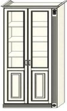 Шкаф-витрина двухдверный Ферсия с одной пилястрой справа, два отделения, полки ЛДСП (модуль 29)
