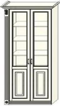 Шкаф-витрина двухдверный Ферсия  с одной пилястрой слева, верхние полки стекло (модуль 30)