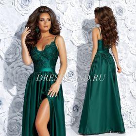 Зеленое платье в пол с разрезом