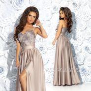 Кофейное платье в пол с разрезом