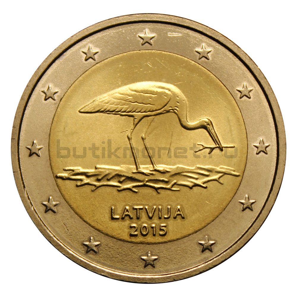 2 евро 2015 Латвия Вымирающие виды - Чёрный аист