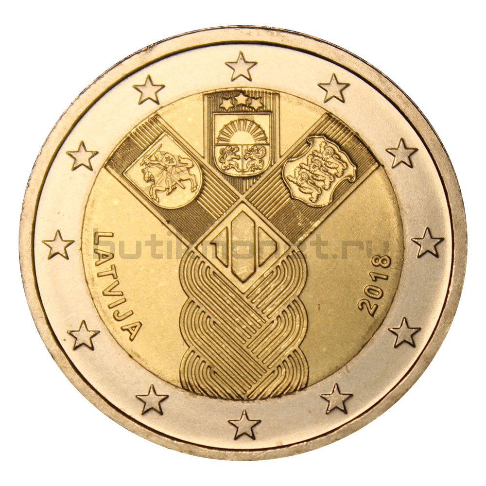 2 евро 2018 Латвия 100 лет государствам Балтики