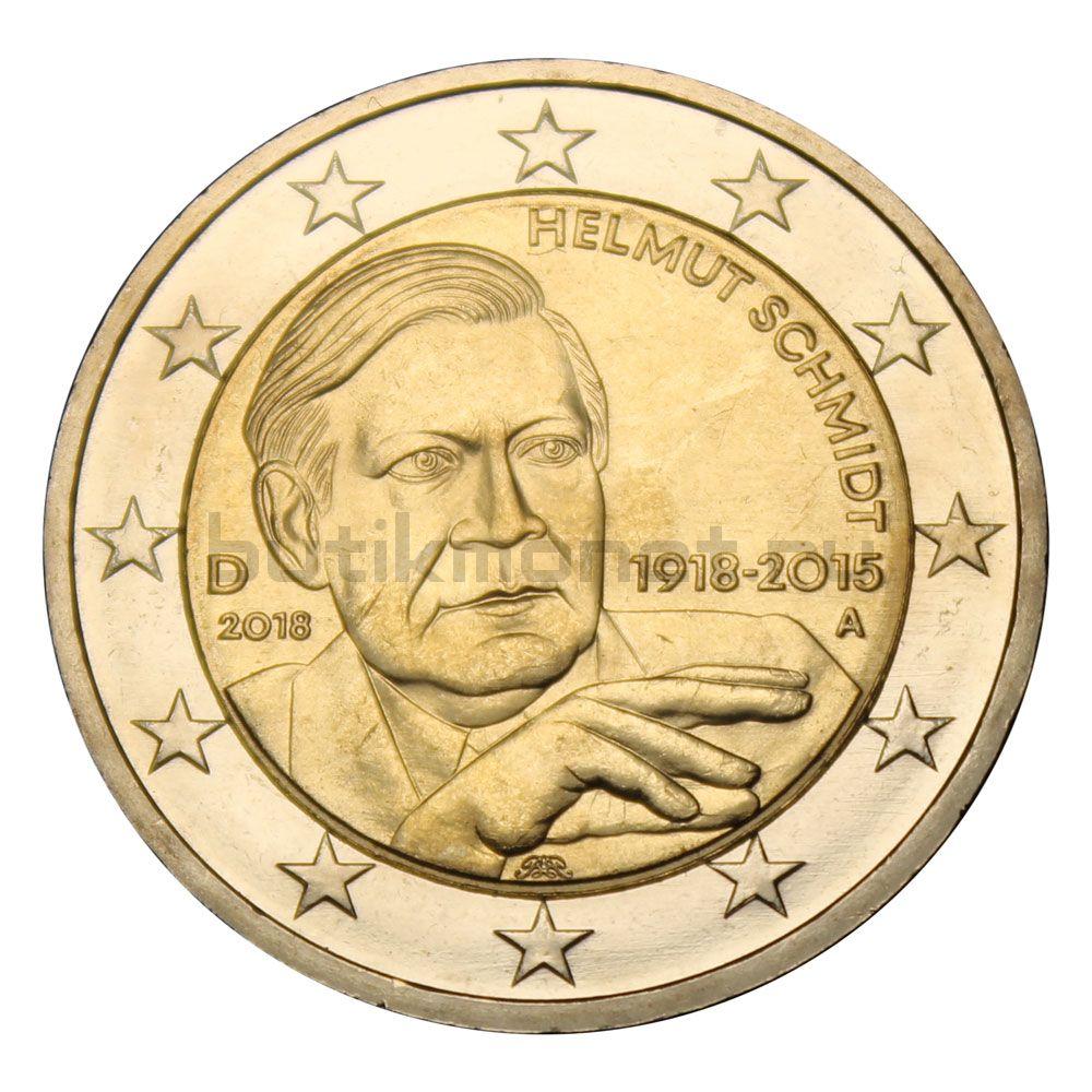 2 евро 2018  Германия 100 лет со дня рождения Гельмута Шмидта А