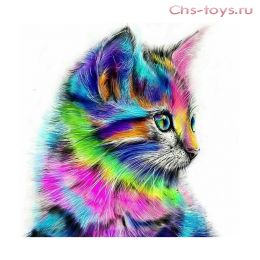 Картина по номерам Красочная кошка W2156