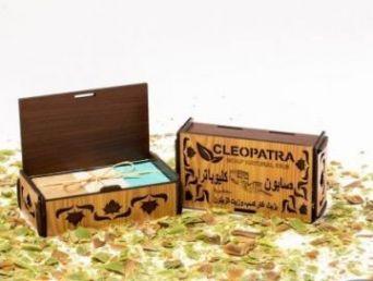 Набор оливкового мыла в подарочной деревянной шкатулке с белыми накладками, 3 шт./~450 гр