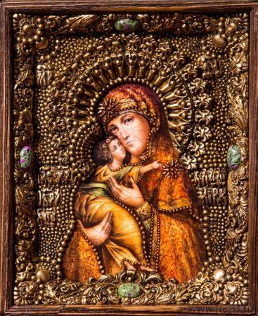 Икона Божьей Матери Владимирская 19 х 23 см в киоте, роспись по дереву, самоцветы
