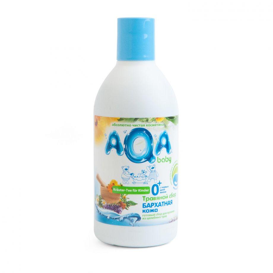 """AQA baby Травяной сбор для купания малышей """"Бархатная кожа"""", 300мл."""