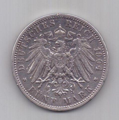 5 марок 1904 г. Баден. Германия
