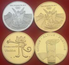Комплект из 4 памятных медалей Олимпиада в Бразилии Рио 2016