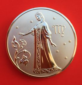 Медальон знаки зодиака Дева Серебро покрытие 30 мм