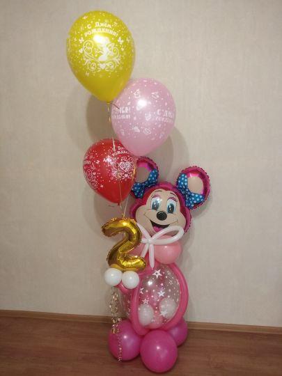 Мышка с цифрой, 3 шариками и маленькими шариками внутри